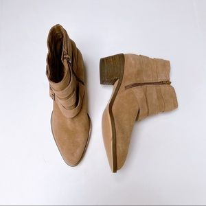 Sole Society Suede Triple Buckle Ankle Boots